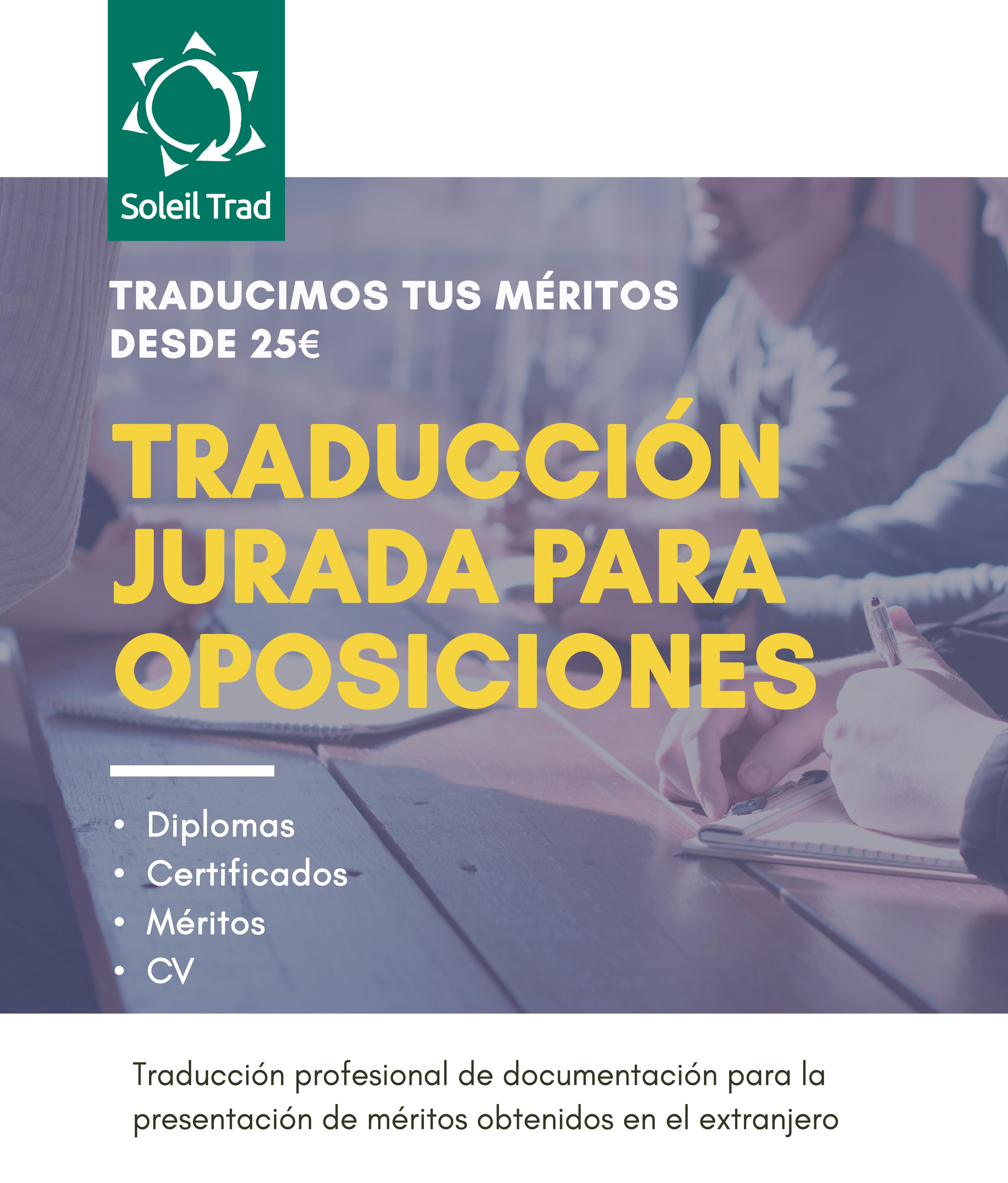 Cartel Traducciones Oposiciones 2019